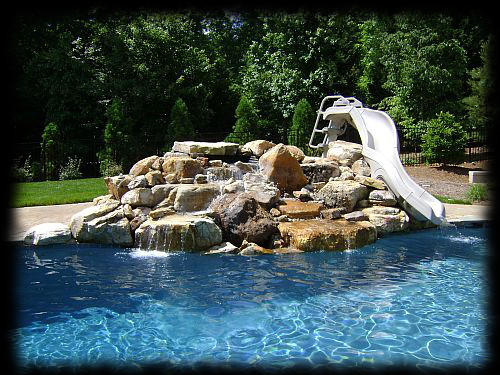 water feature with slide - Swimming Pools With Waterfalls And Slide